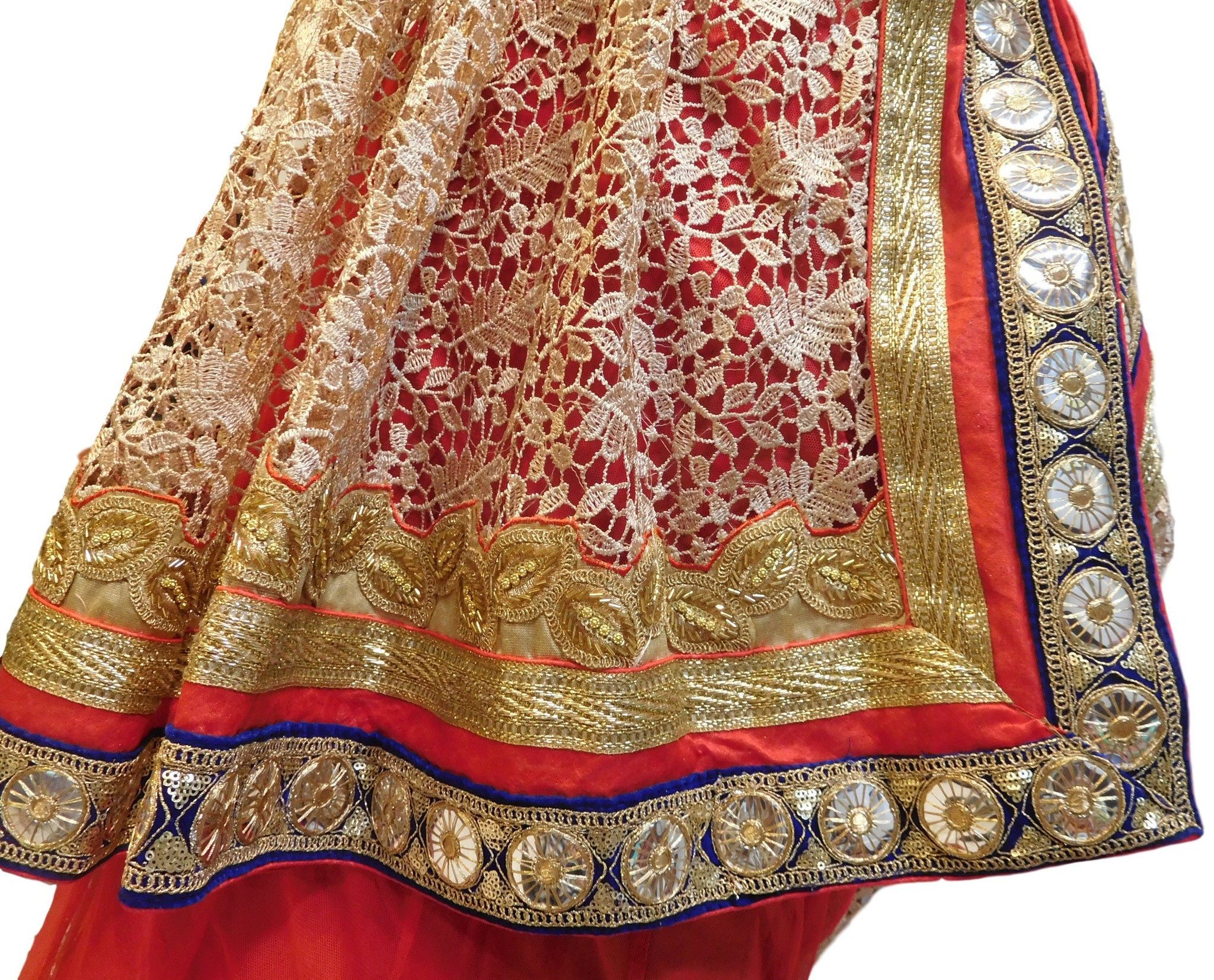 Red & Cream With Lahenga Designer Georgette Saree