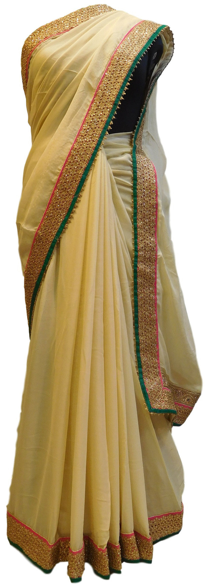 Cream Designer Georgette Saree With Hand Embroidery Border