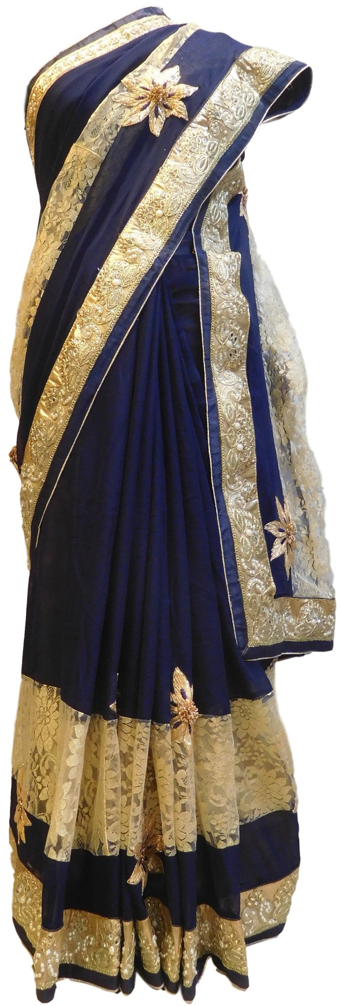 Grey & Cream Designer Georgette Saree With Hand Embroidery Border