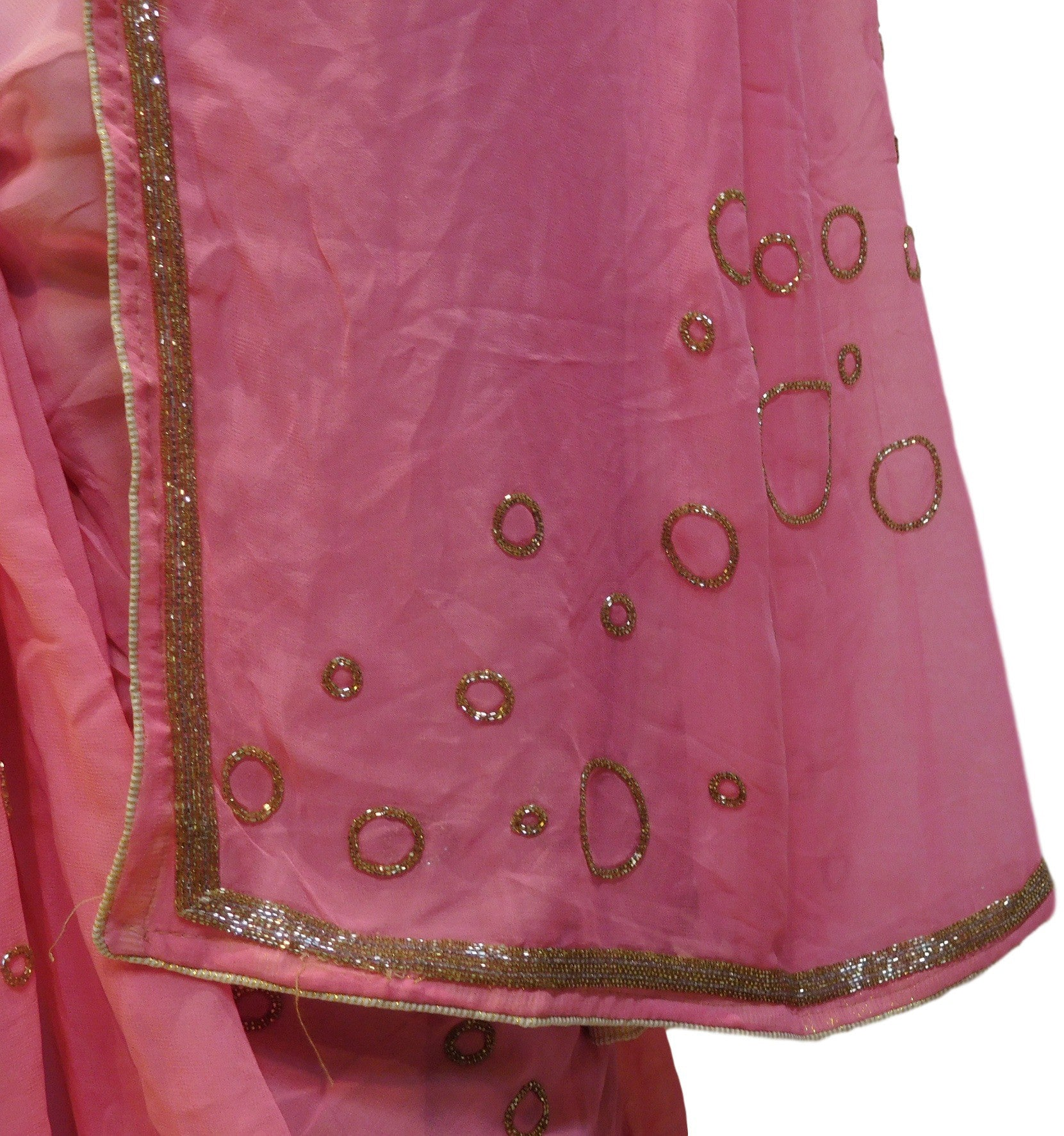 Pink Designer Georgette Saree With Cutdana Work Border