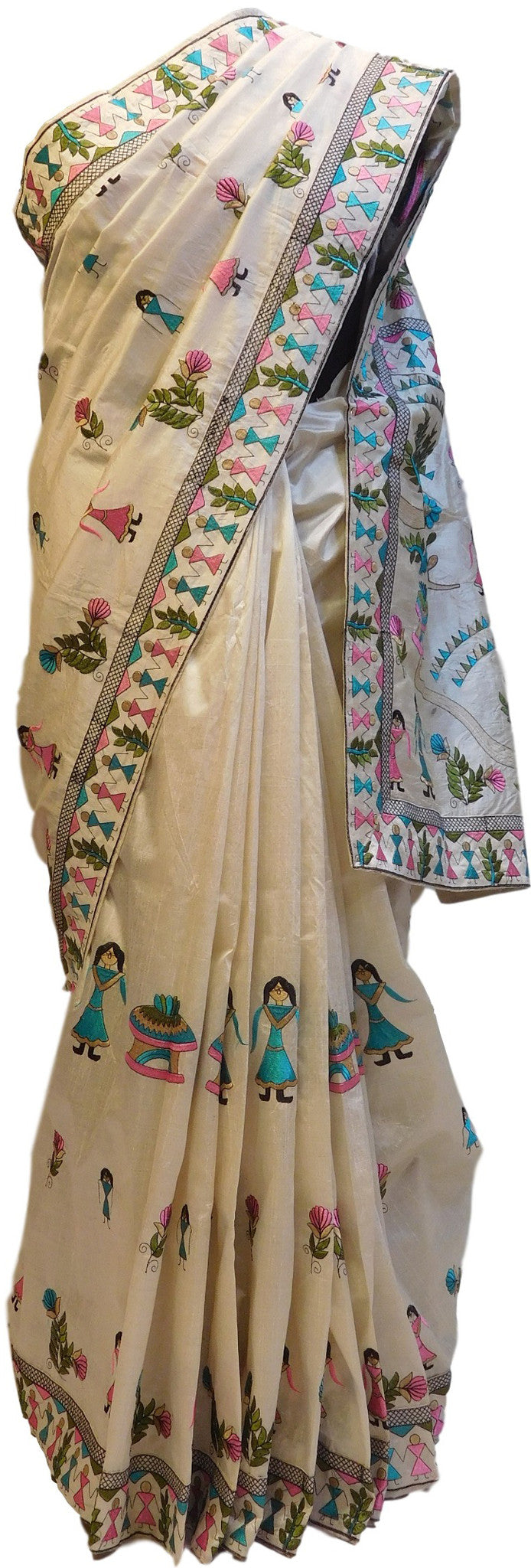 Cream Designer Silk Saree