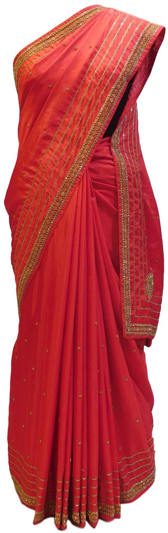 Red Designer Georgette Saree With Cutdana, Stone Work Border