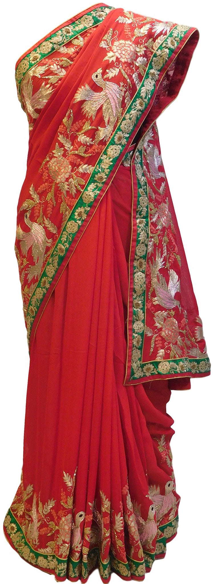Red Designer Georgette Saree With Stone, Gotawork Border