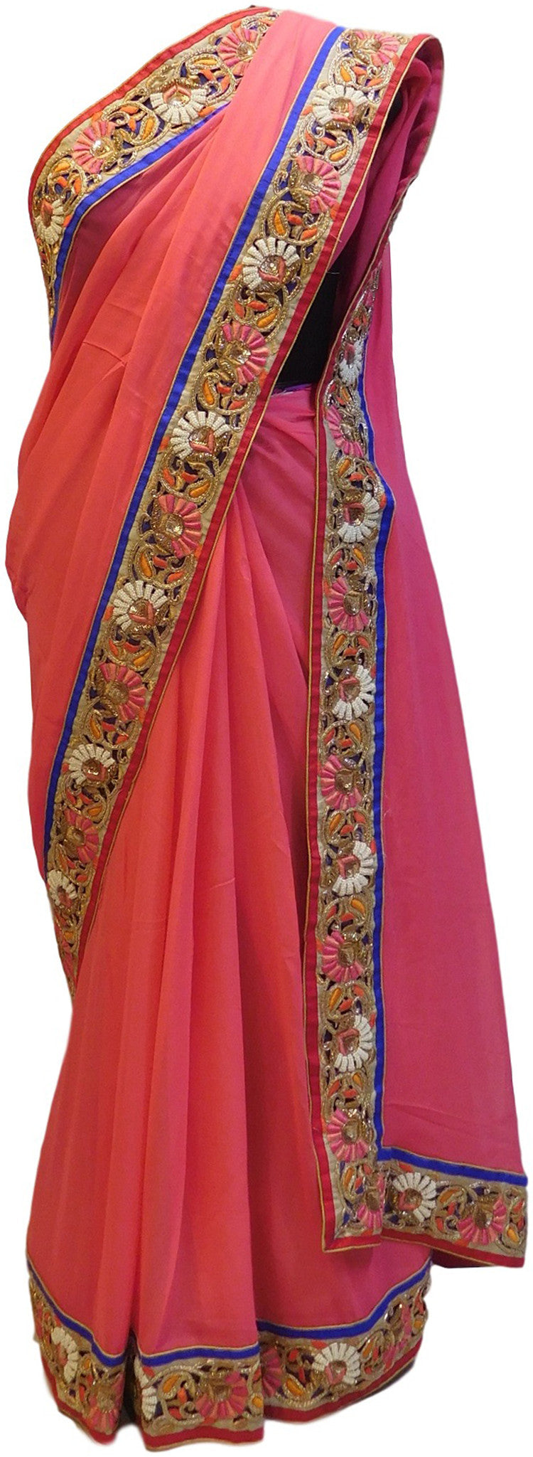 Pink Designer Georgette Saree With Cutdana, Pearl, Sequence, Bullion Work Border