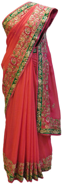 Pink Designer Georgette Saree With Stone, Gotawork Border