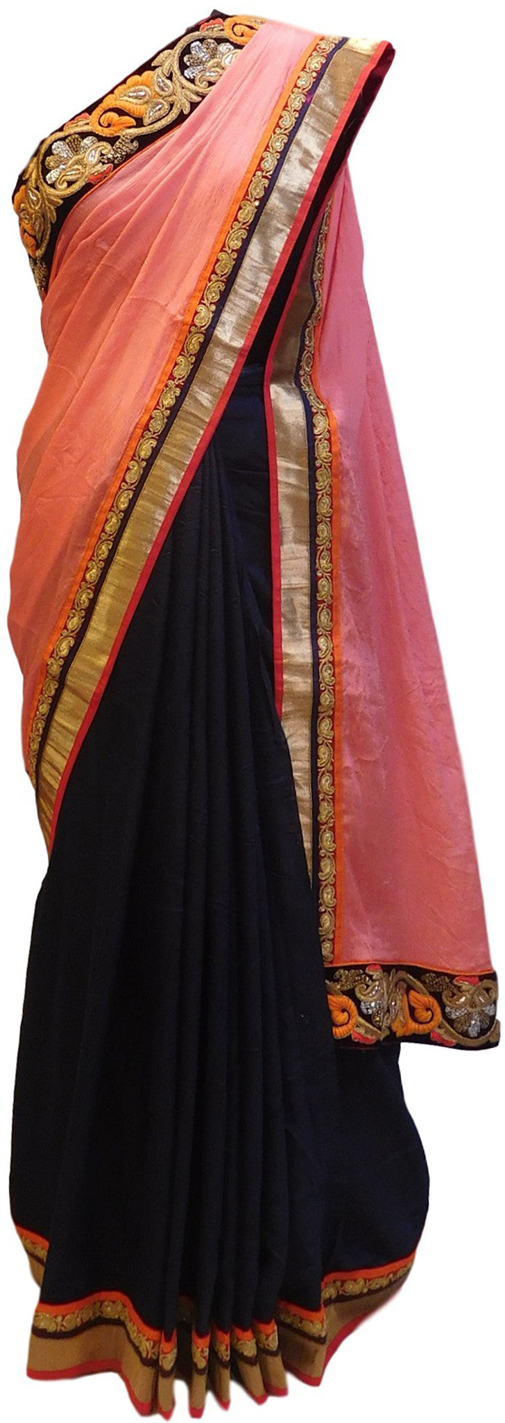Pink & Navy Blue Designer Georgette Saree