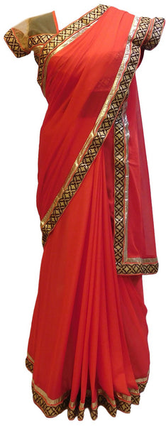 Red Designer Georgette Saree With Sequence Work Border