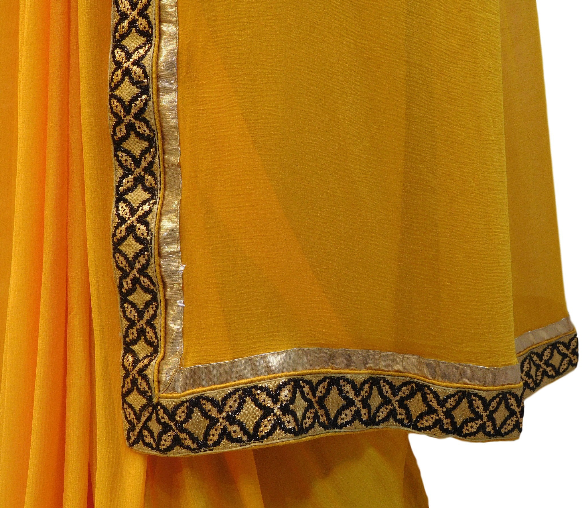 Yellow Designer Georgette Saree With Sequence Work Border