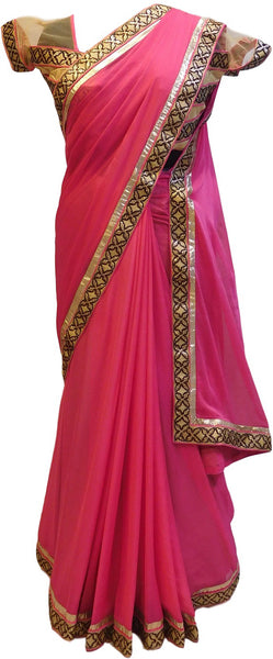 Pink Designer Georgette Saree With Sequence Work Border