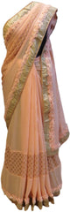 Peach Designer Georgette Saree