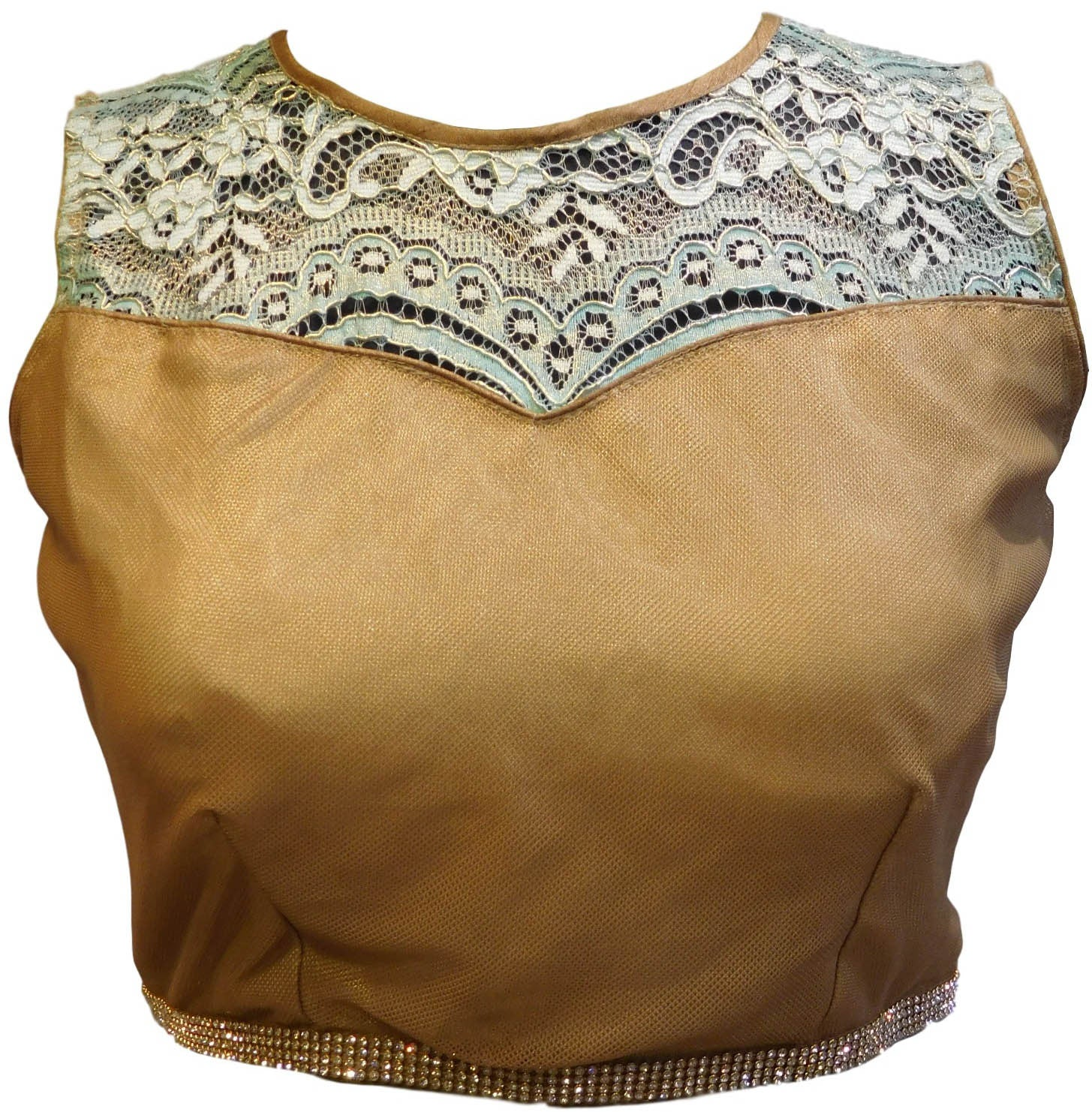 Golden Designer Blouse With Stone Work