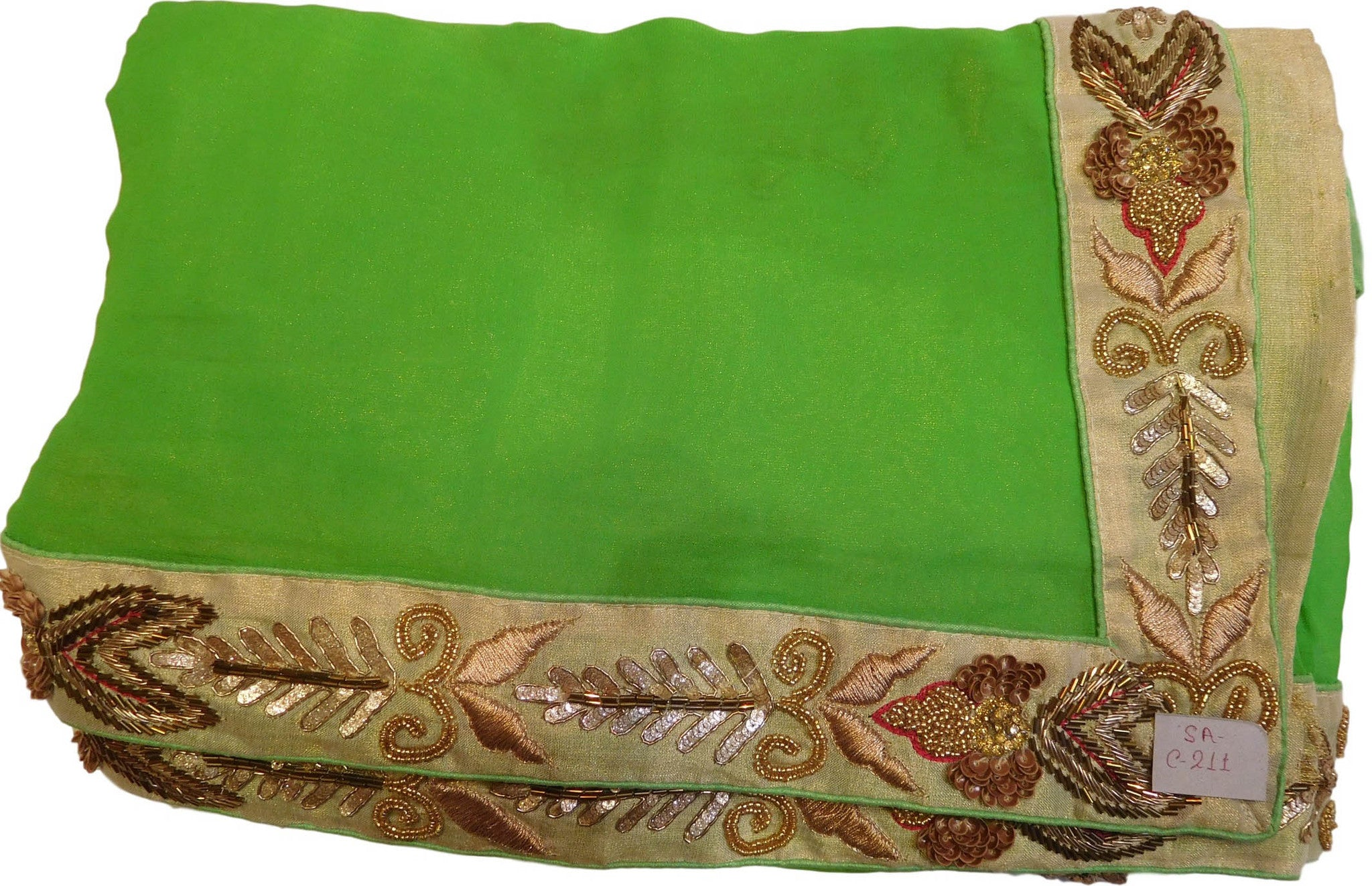 Green Designer Georgette Saree With Pearl, Cutdana, Bullion Work Border