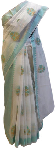 Turquoise & White Designer Supernet Saree With Self Weaved Zari And Thread Embroidery Work