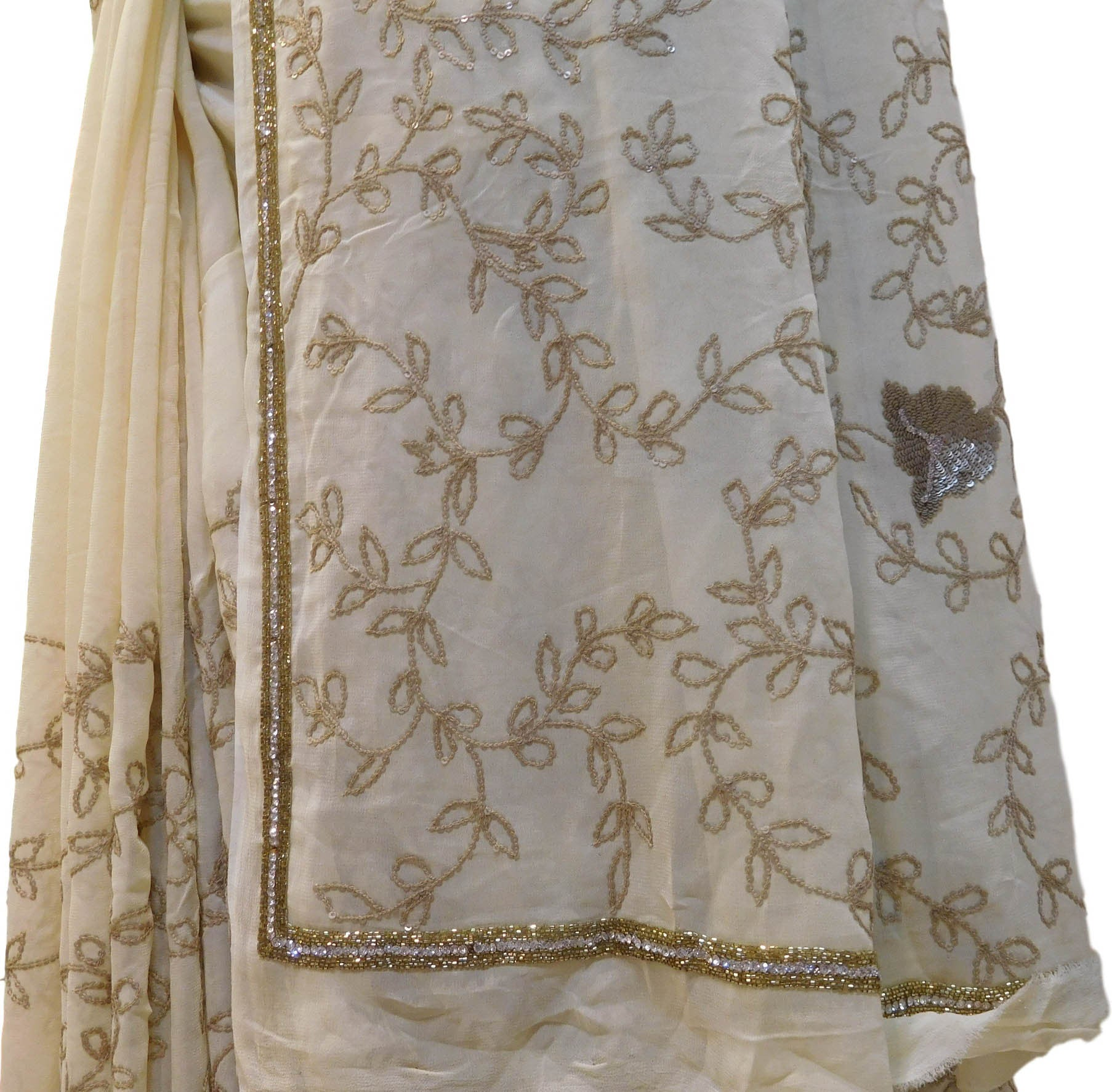 Cream Designer Georgette Saree With Stone & Cutdana Work Border