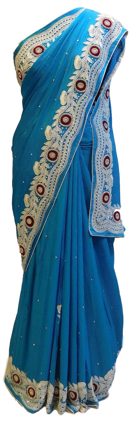 Blue Designer Crepe (Chinon) Hand Embroidery Cutwork Border Saree