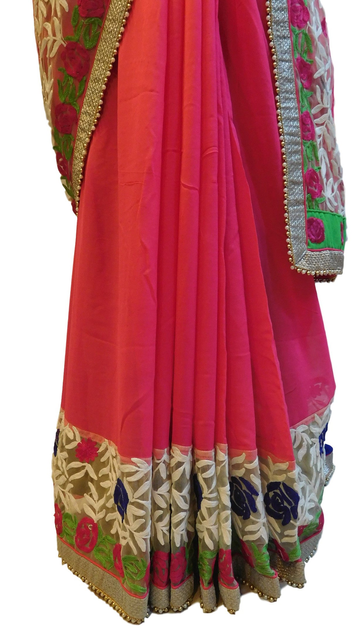 Pink Designer Georgette (Viscos) Saree With Thread Embroidery