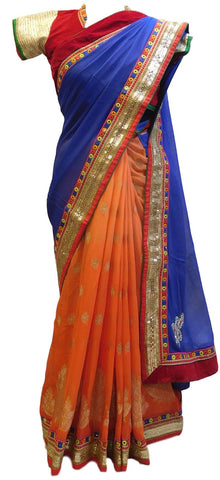 Blue & Orange Designer Georgette (Viscos) & Khaddi Saree With Stylish Blouse