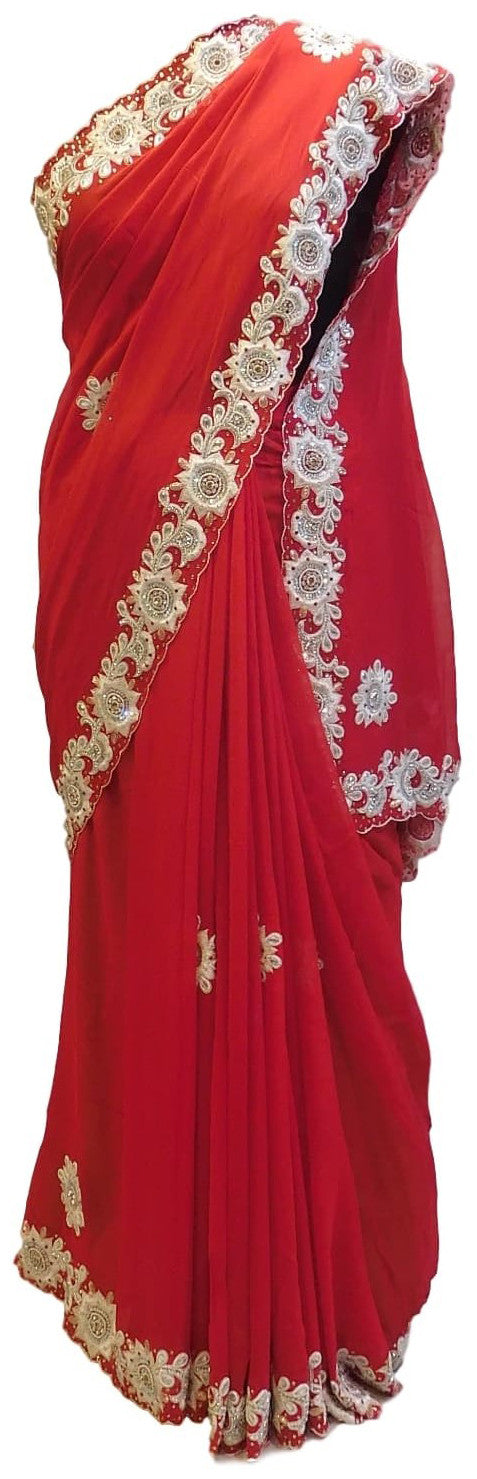 Red Designer Georgette (Viscos) Hand Embroidery Heavy Cutwork Border Saree Sari