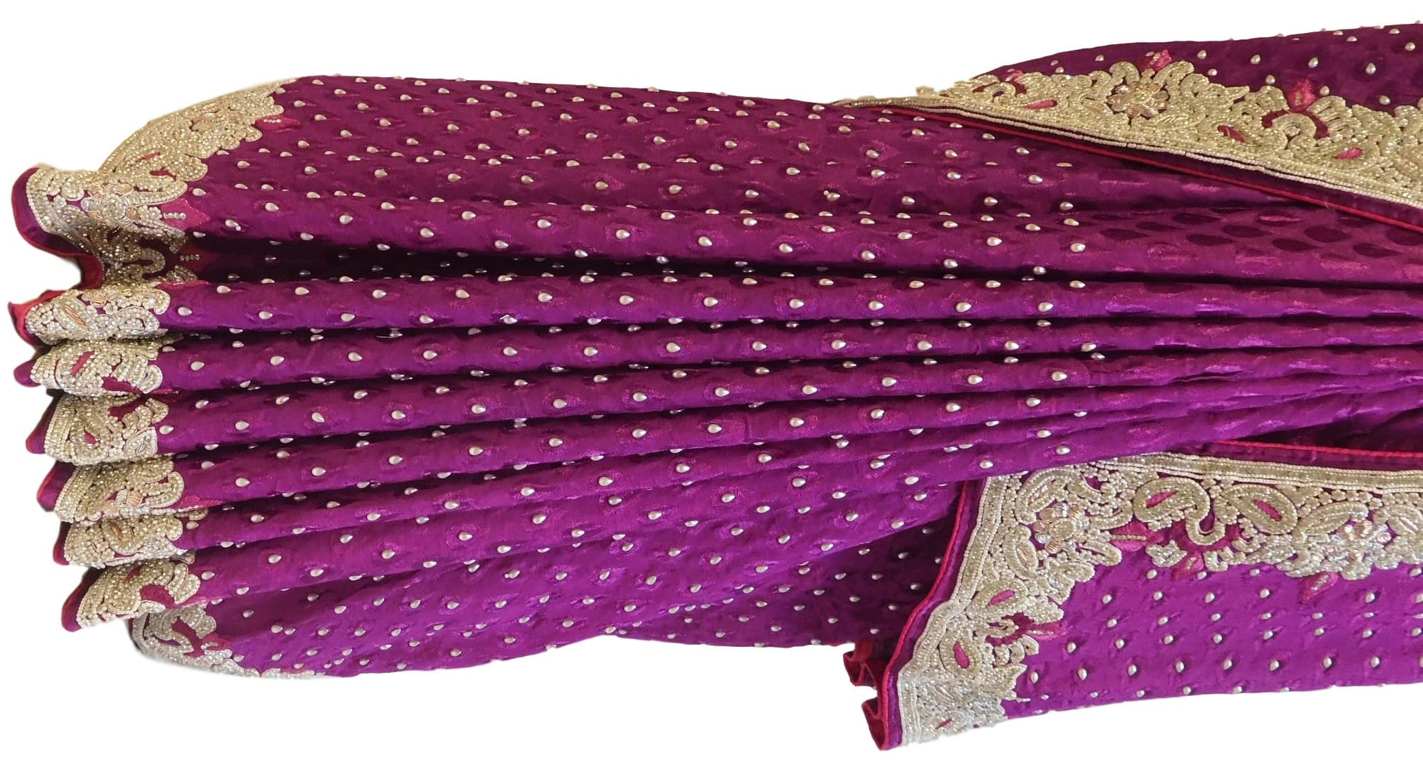 Purple Designer Crepe (Jackard) Hand Embroidery Heavy Border Saree Sari