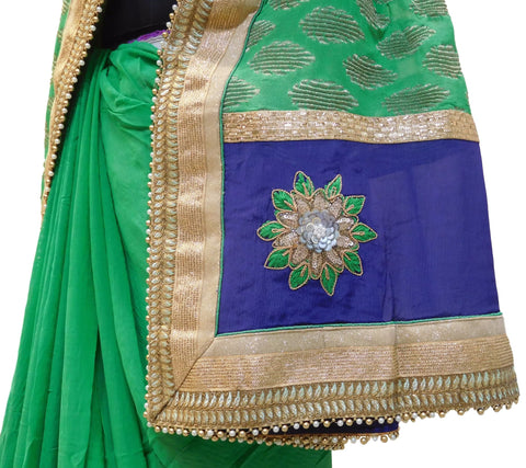 Green Designer Khaddi & Georgette (Viscos) Saree