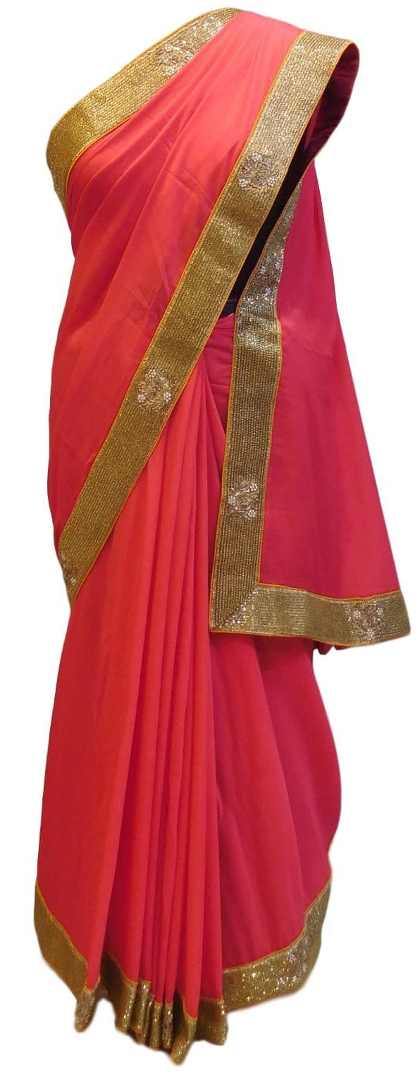 Pink Designer Georgette (Viscos) Hand Embroidery Saree With Heavy Blouse