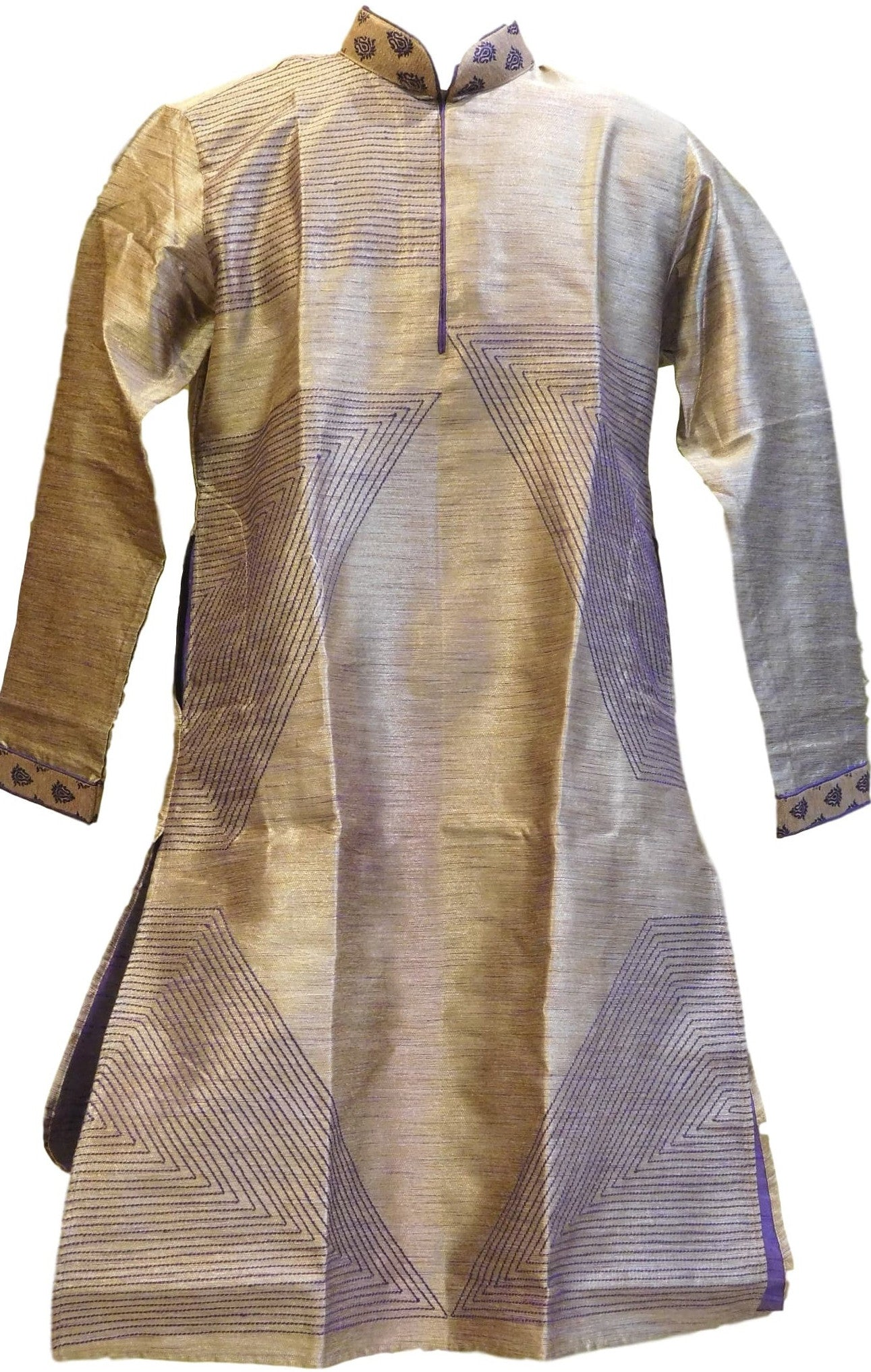 Grey & Blue Designer Partywear Thread Embroidery Mens Kurta