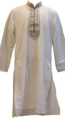 White & Grey Stylist Designer Partywear Hand Embroidery Mens Kurta