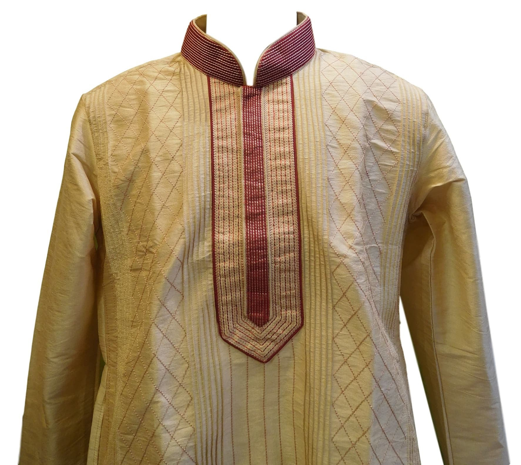 Cream & Merron Designer Partywear Thread Embroidery Mens Kurta