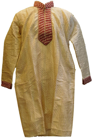 Cream & Merron Designer Stylist Partywear Thread Embroidery Mens Kurta