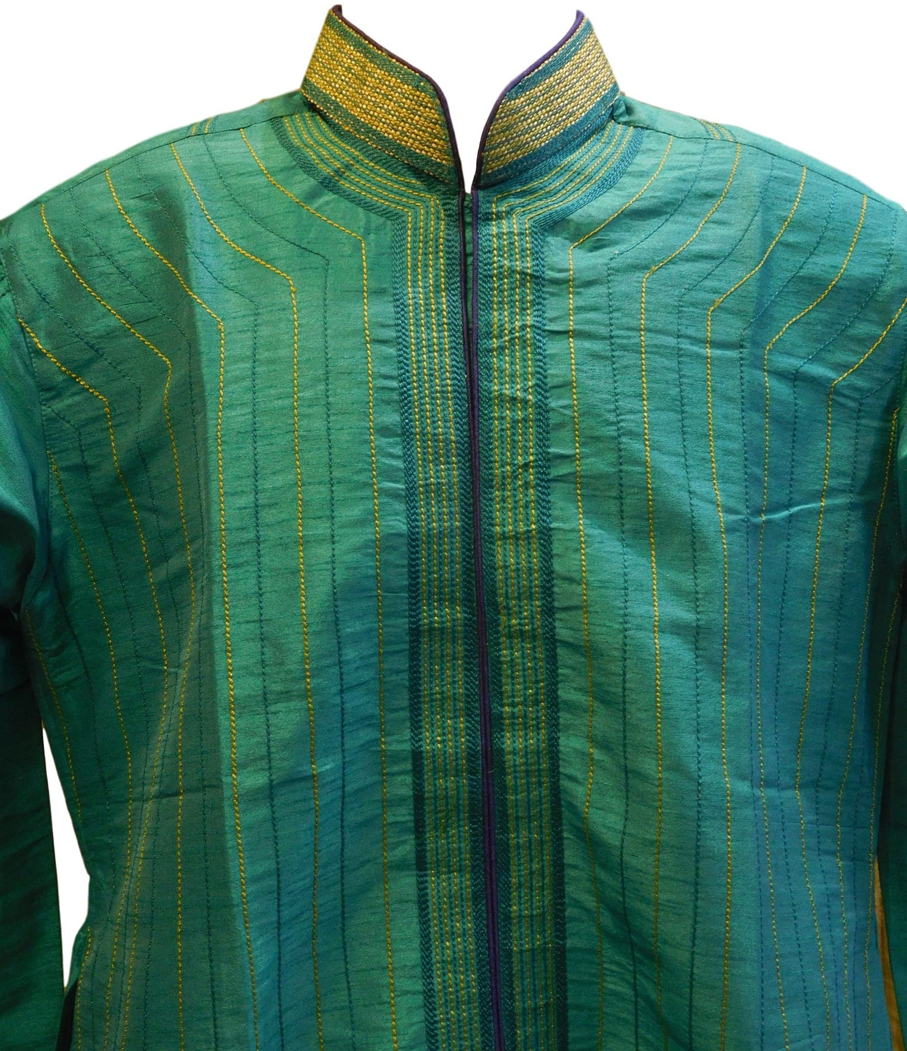 Green Designer Stylist Partywear Thread Embroidery Mens Kurta