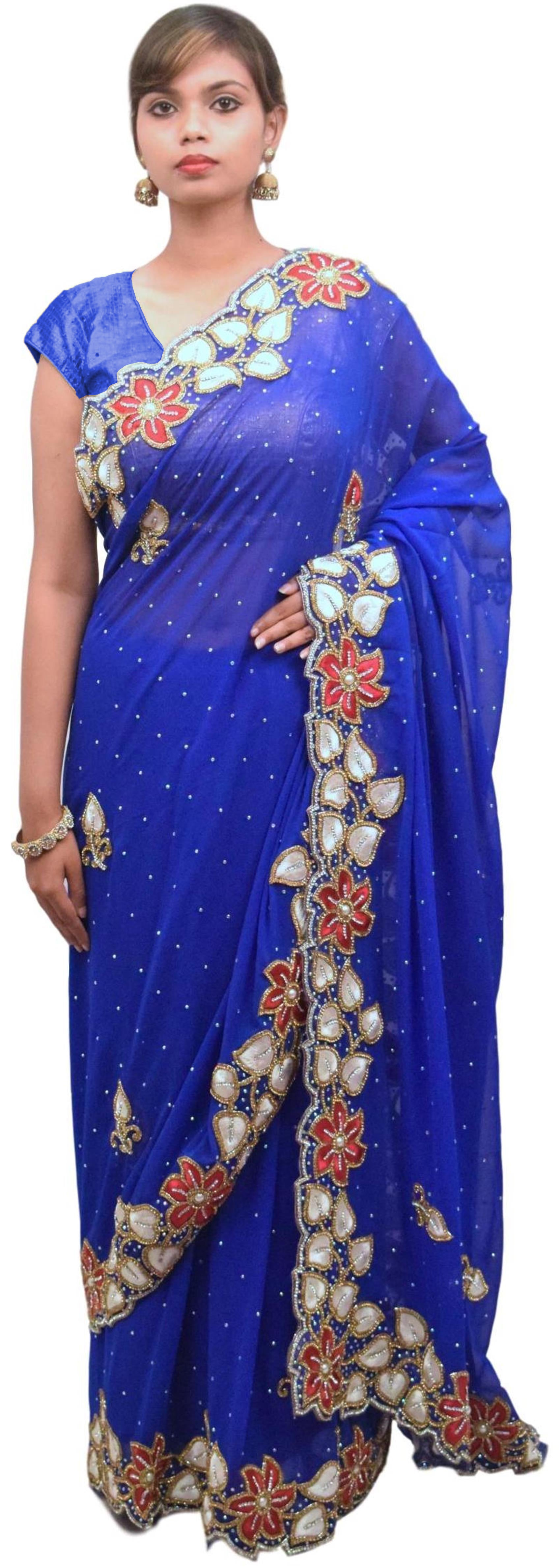 Blue Designer Wedding Partywear Georgette Hand Embroidery Cutdana Stone Thread Work Kolkata Heavy Cutwork Border Saree Sari E180