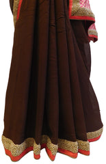 Pink & Coffee Brown Designer PartyWear Georgette (Viscos) Beads Pearl Stone Hand Embroidery Work Saree Sari