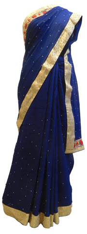 Blue Designer PartyWear Georgette (Viscos) Beads Pearl Stone Hand Embroidery Work Saree Sari