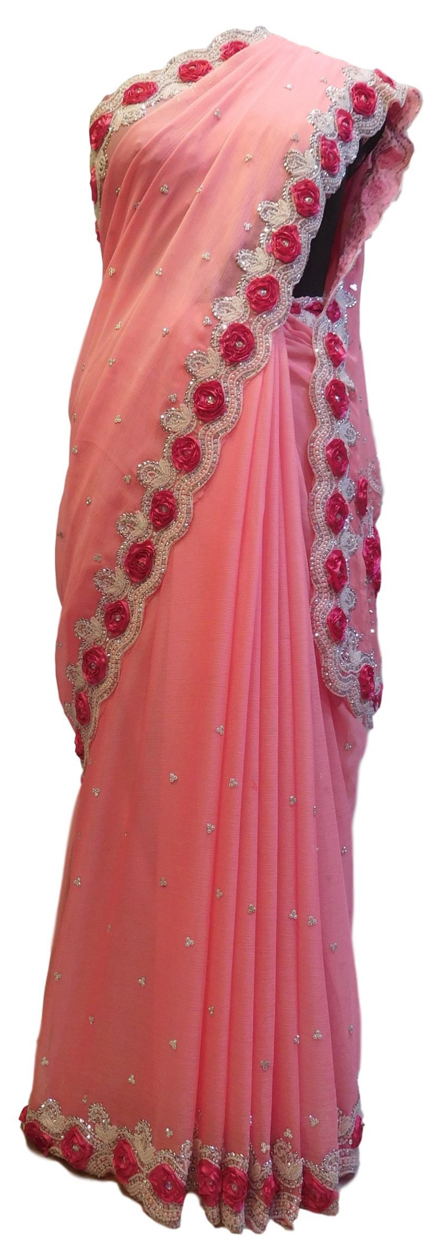 Peach Designer Bridal PartyWear Georgette Thread Beads Stone Work Wedding Cutdwork Border Saree Sari