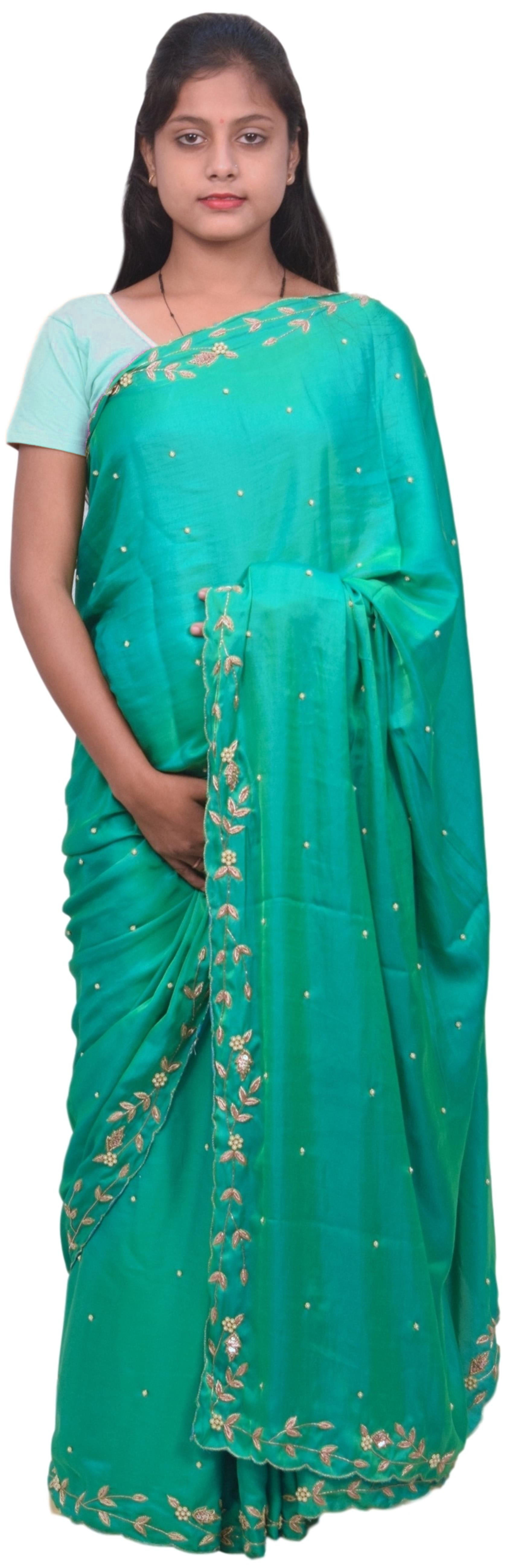 Green Designer Bridal PartyWear Silk Bullion Pearl Beads Stone Work Wedding Cutwork Border Saree Sari