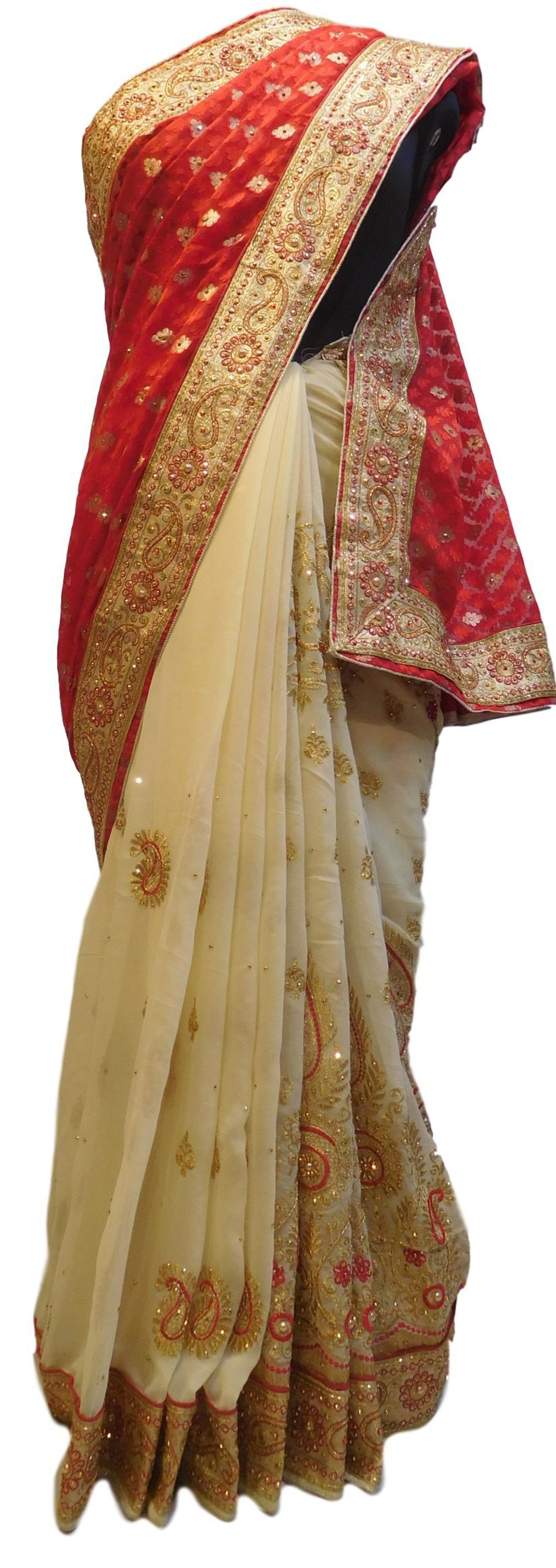 Red & Cream Designer PartyWear Brasso & Georgette Cutdana Pearl Thread Zari Stone Work Saree Sari