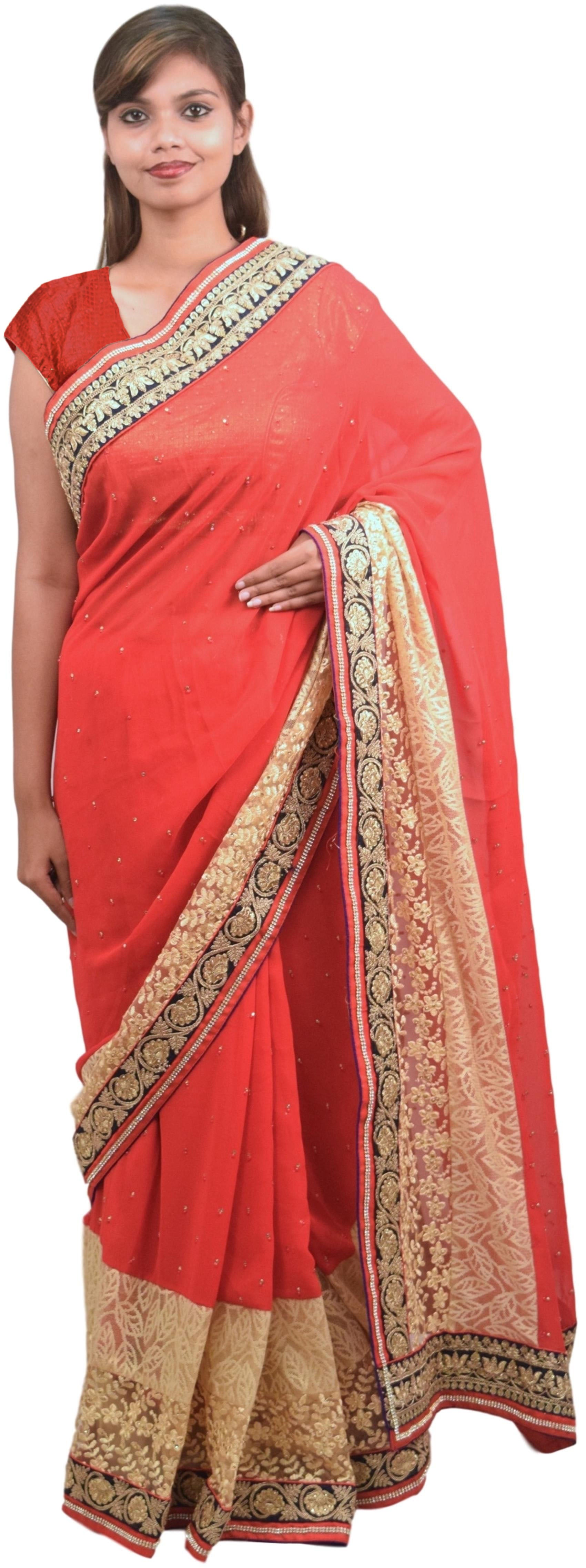 Red & Beige Designer PartyWear Georgette & Net Thread Zari Stone Work Wedding Saree Sari