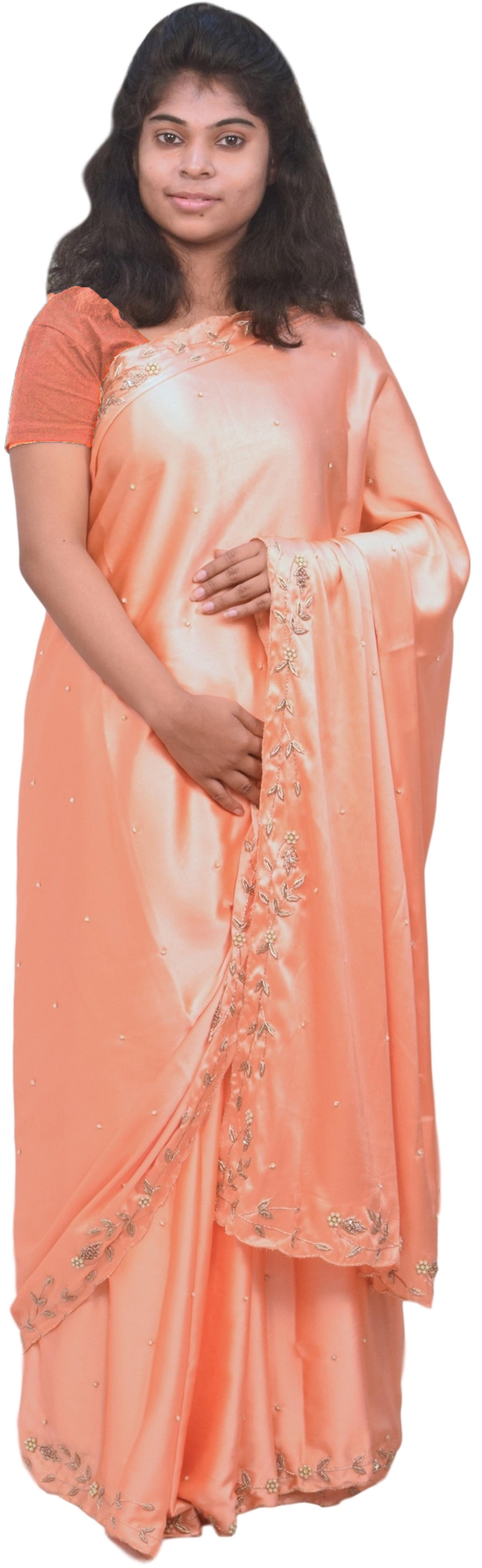 Peach Designer Bridal PartyWear Silk Bullion Pearl Beads Stone Work Wedding Cutwork Border Saree Sari
