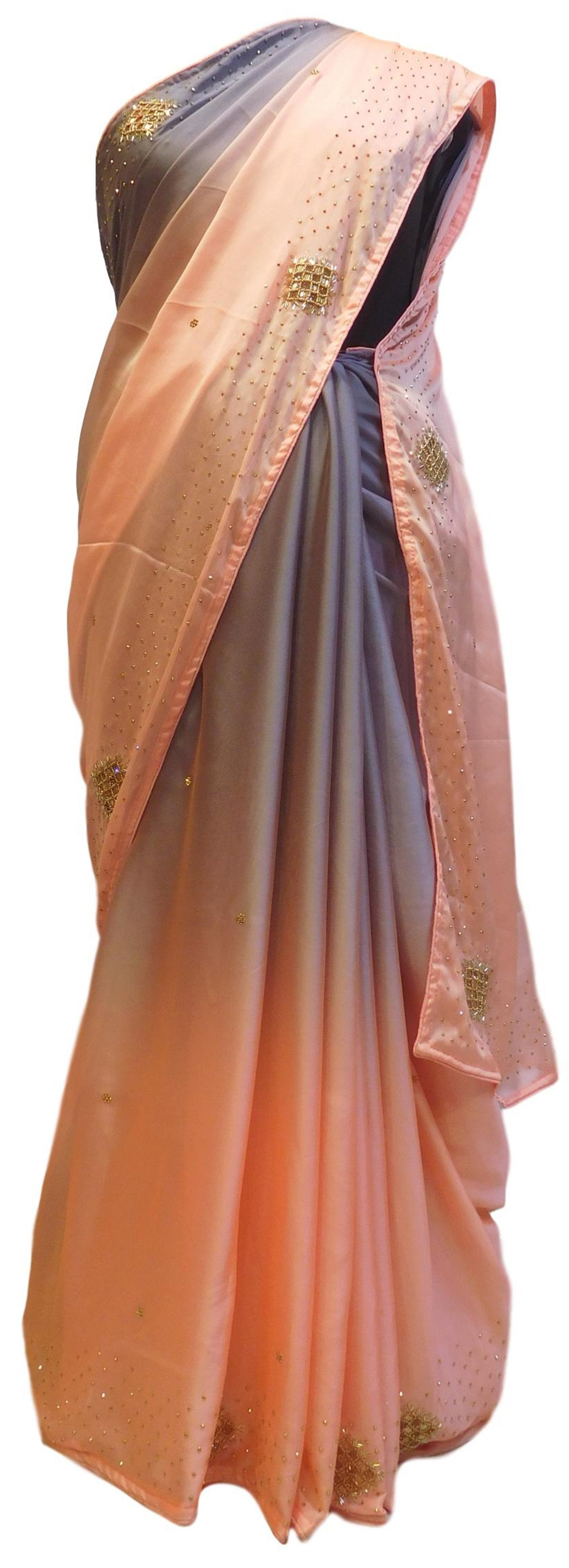 Grey & Peach Designer Bridal PartyWear Crepe Cutdana Beads Stone Work Wedding Saree Sari E033