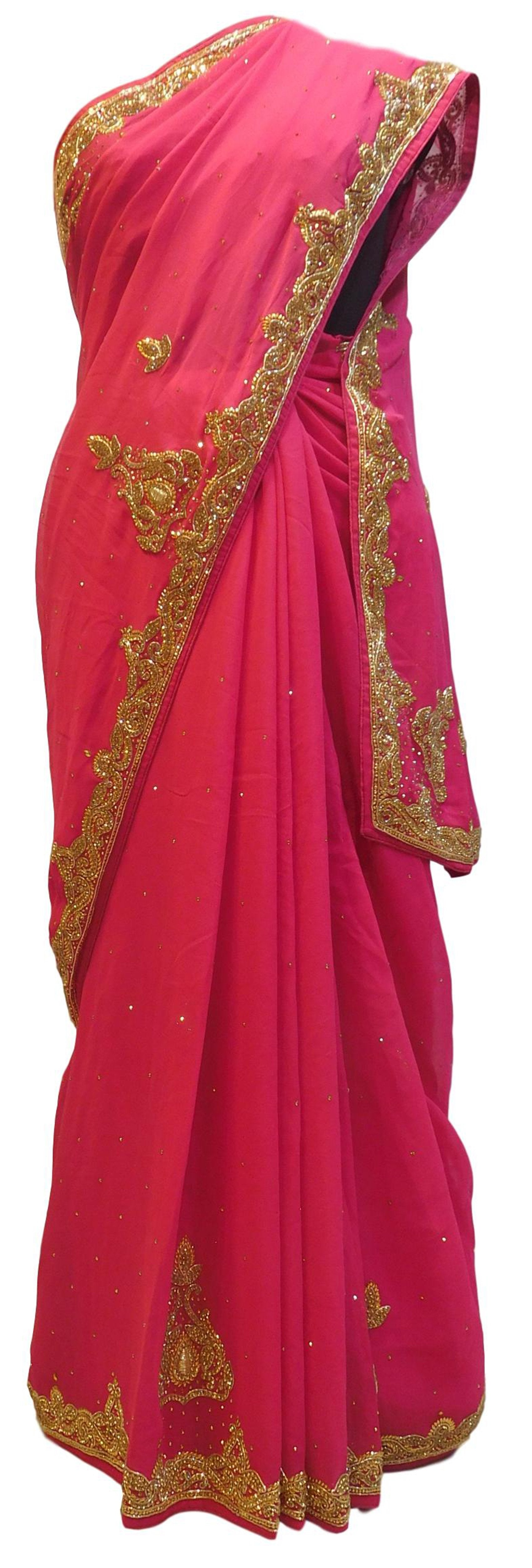 Pink Designer Bridal PartyWear Georgette (Viscos) Bullion Stone Work Wedding Saree Sari E034