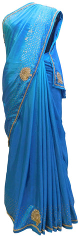 Blue Designer Bridal PartyWear Silk Cutdana Seuqence Beads Stone Work Wedding Saree Sari E035