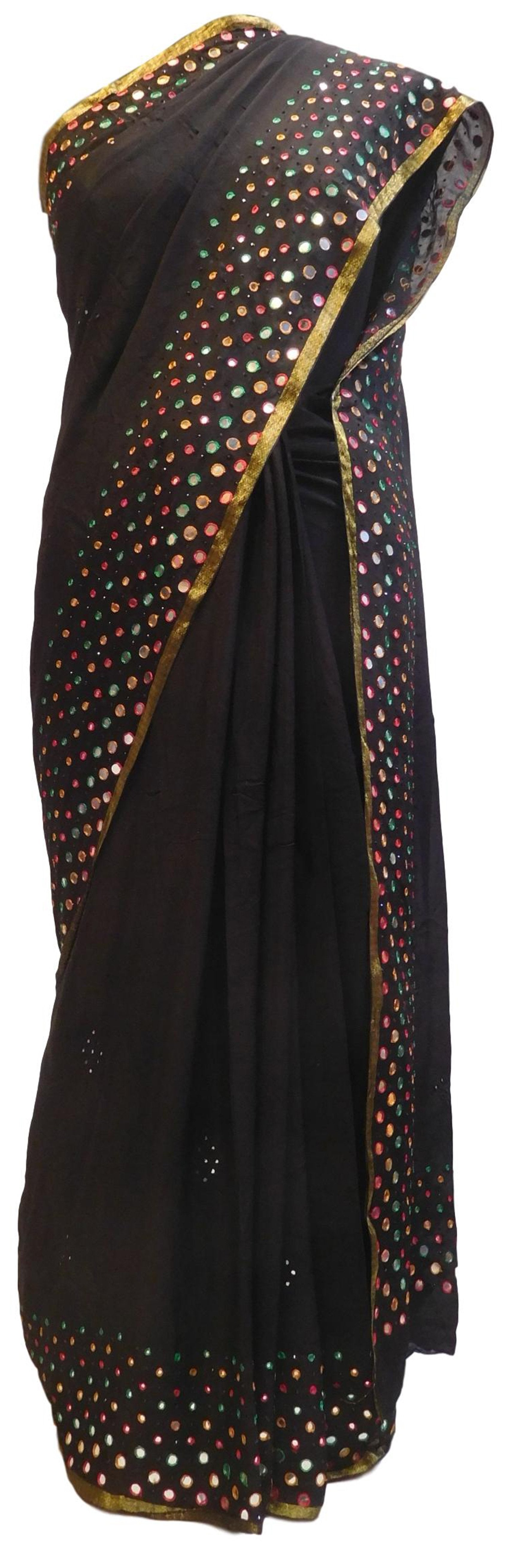 Black Designer Bridal PartyWear Crepe Thread Mirror Stone Work Wedding Saree Sari E039