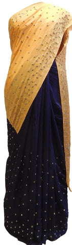 Yellow & Blue Designer Bridal PartyWear Crepe Cutdana Stone Work Wedding Saree Sari E040
