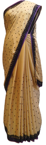 Beige Designer Bridal PartyWear Crepe Thread Cutdana Stone Work Wedding Cutwork Border Saree Sari