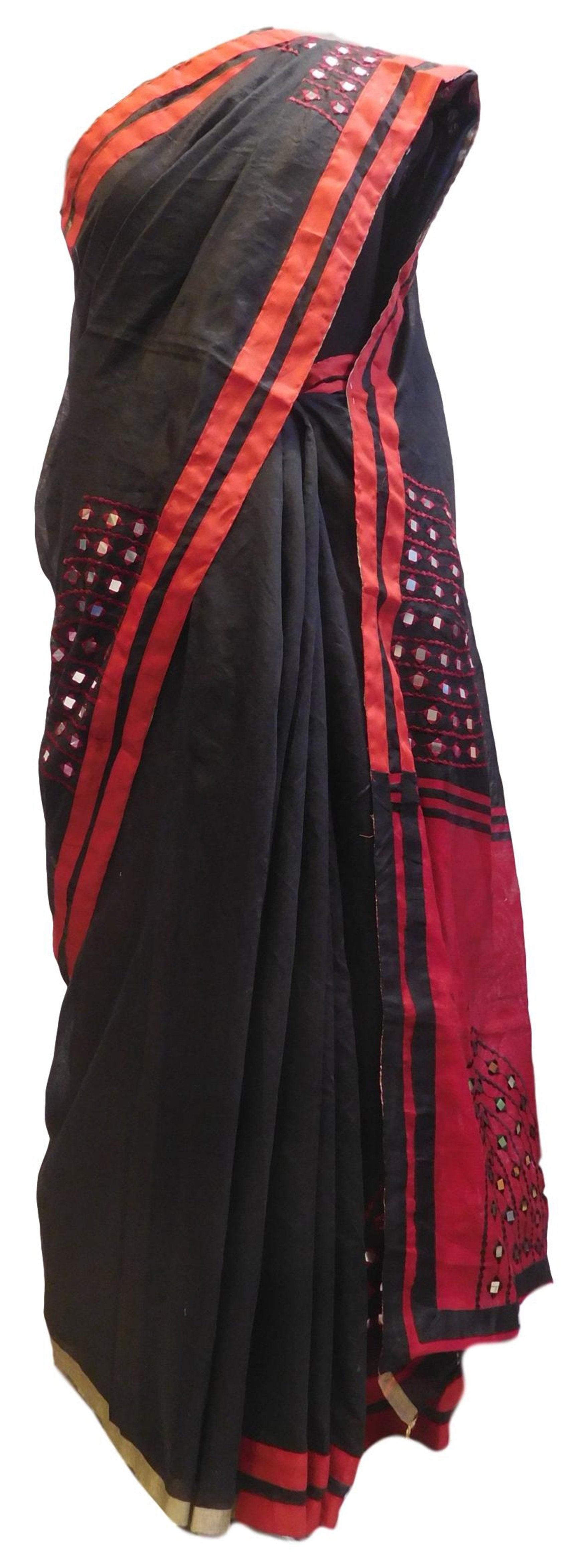 Red & Black Designer PartyWear Cotton (Chanderi) Thread Mirror Work Boutique Style Saree Sari E042