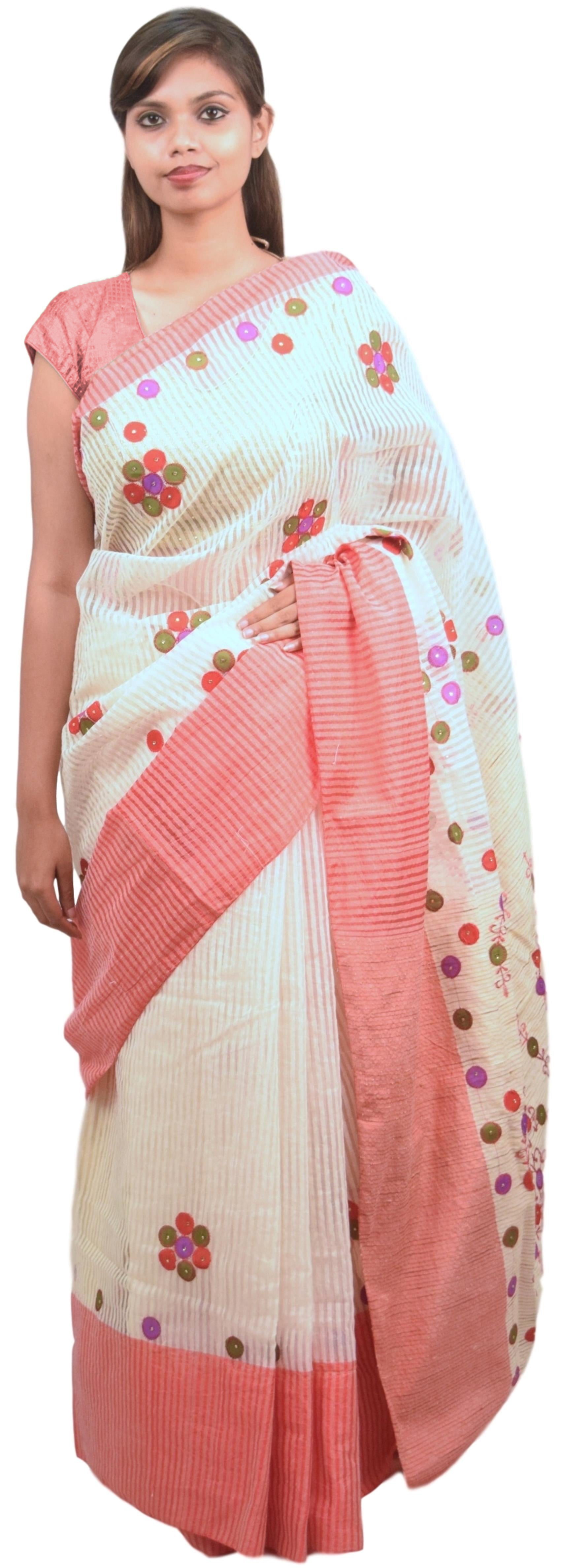 Cream & Pink Designer PartyWear Cotton Thread Work Boutique Style Saree Sari E043