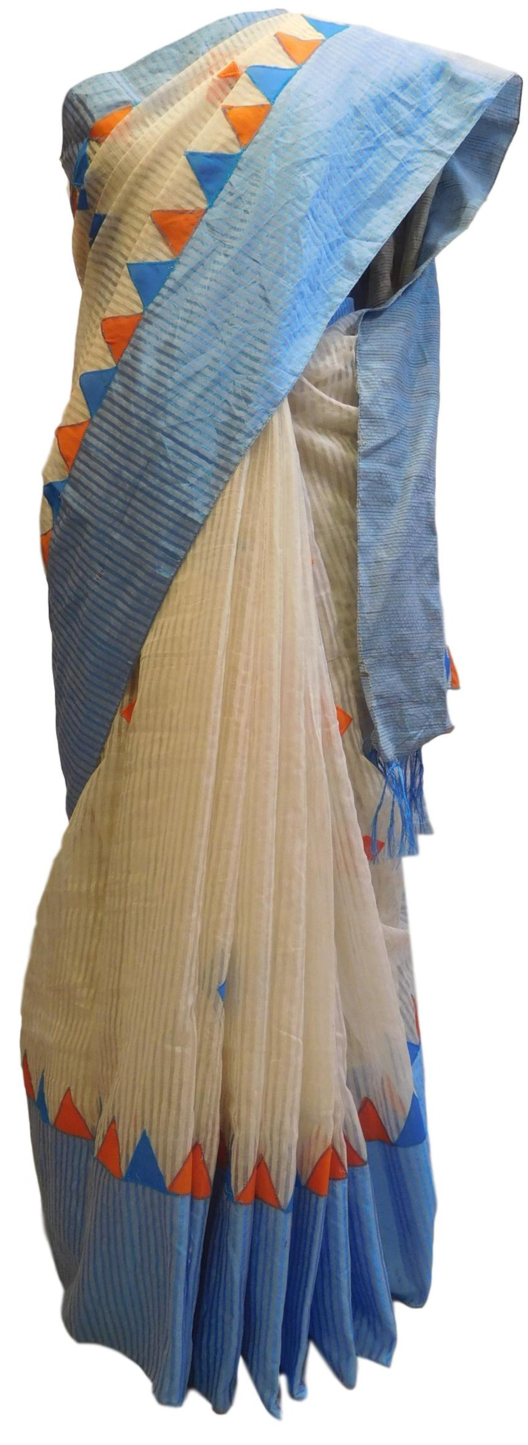 Cream & Blue Designer PartyWear Cotton Thread Work Boutique Style Saree Sari E044