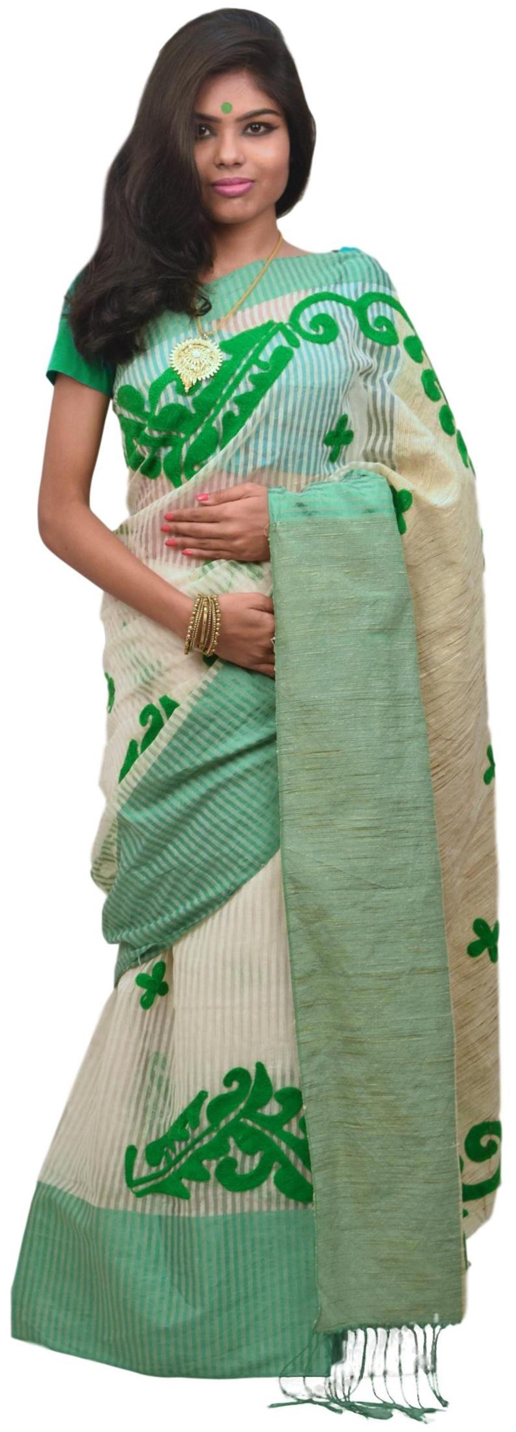 Cream & Green Designer PartyWear Cotton Thread Work Boutique Style Saree Sari E045