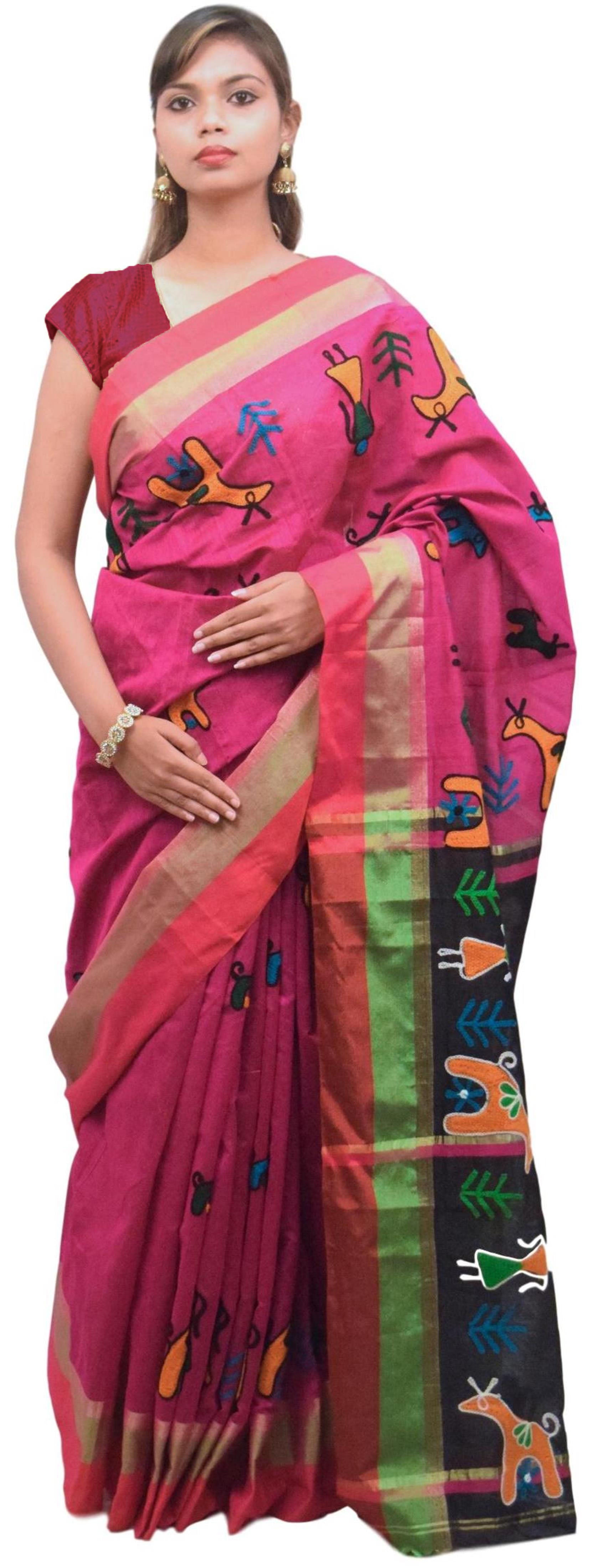 Pink & Black Designer PartyWear Cotton Thread Work Boutique Style Saree Sari E048
