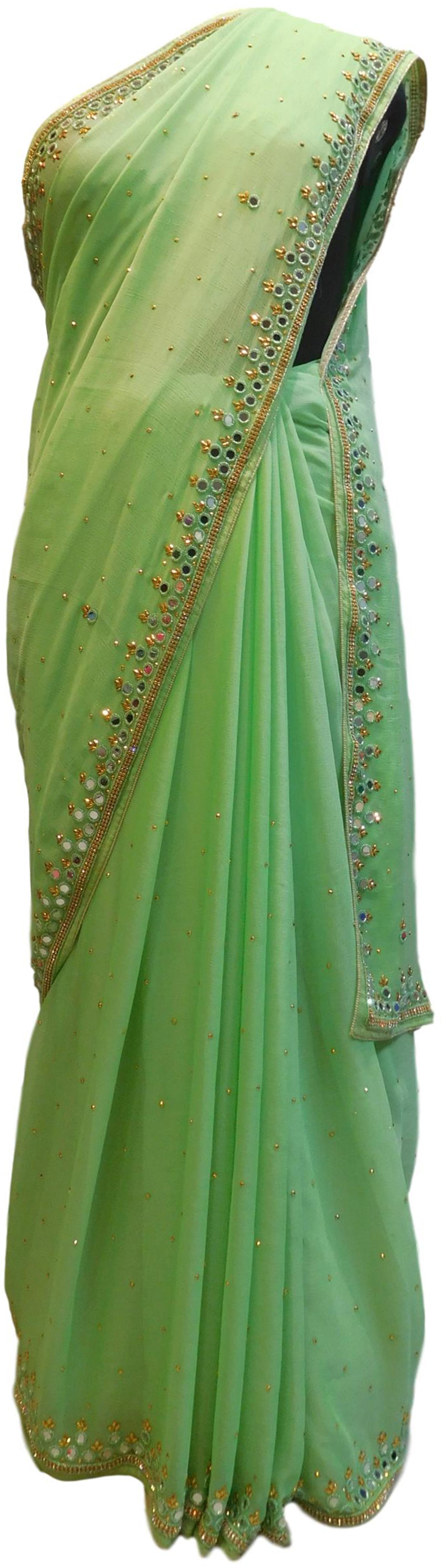 Green Designer Wedding Partywear Georgette Mirror Beads Stone Hand Embroidery Work Bridal Saree Sari E049